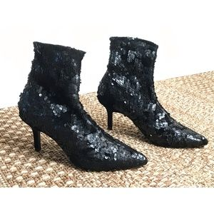 Zara Basic Black Sequin Velvet Ankle Stiletto Heel